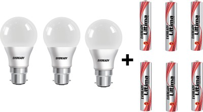 Eveready 7W LED Bulb Pack of 3 with Free 6 Batteries(White, Pack of 3)
