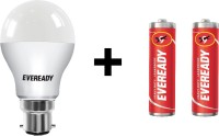 Eveready 7W LED Bulb Pack of 1 with Free 2 Batteries(White)