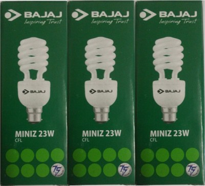 Bajaj 23W Spiral Miniz CFL Bulb (White, Pack of 3)