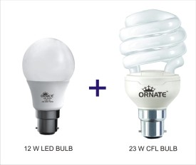 Ornate Combo Of 12W LED Bulb And 23W CFL Bulb (White)