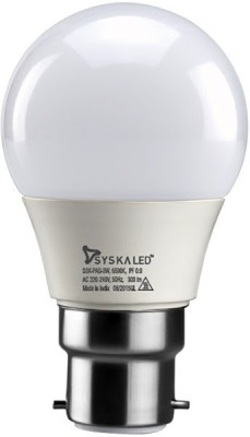 Syska 3 W Round B22 LED Bulb(Yellow)