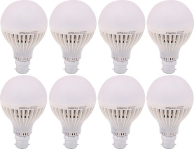Swarn 9 W B22 LED Bulb (White, Pack of 8)