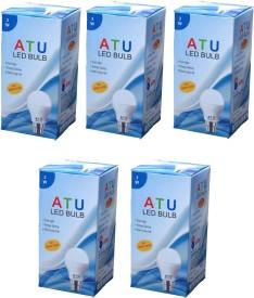 ATU 3W B22 270L LED Bulb (White, Pack of 5)
