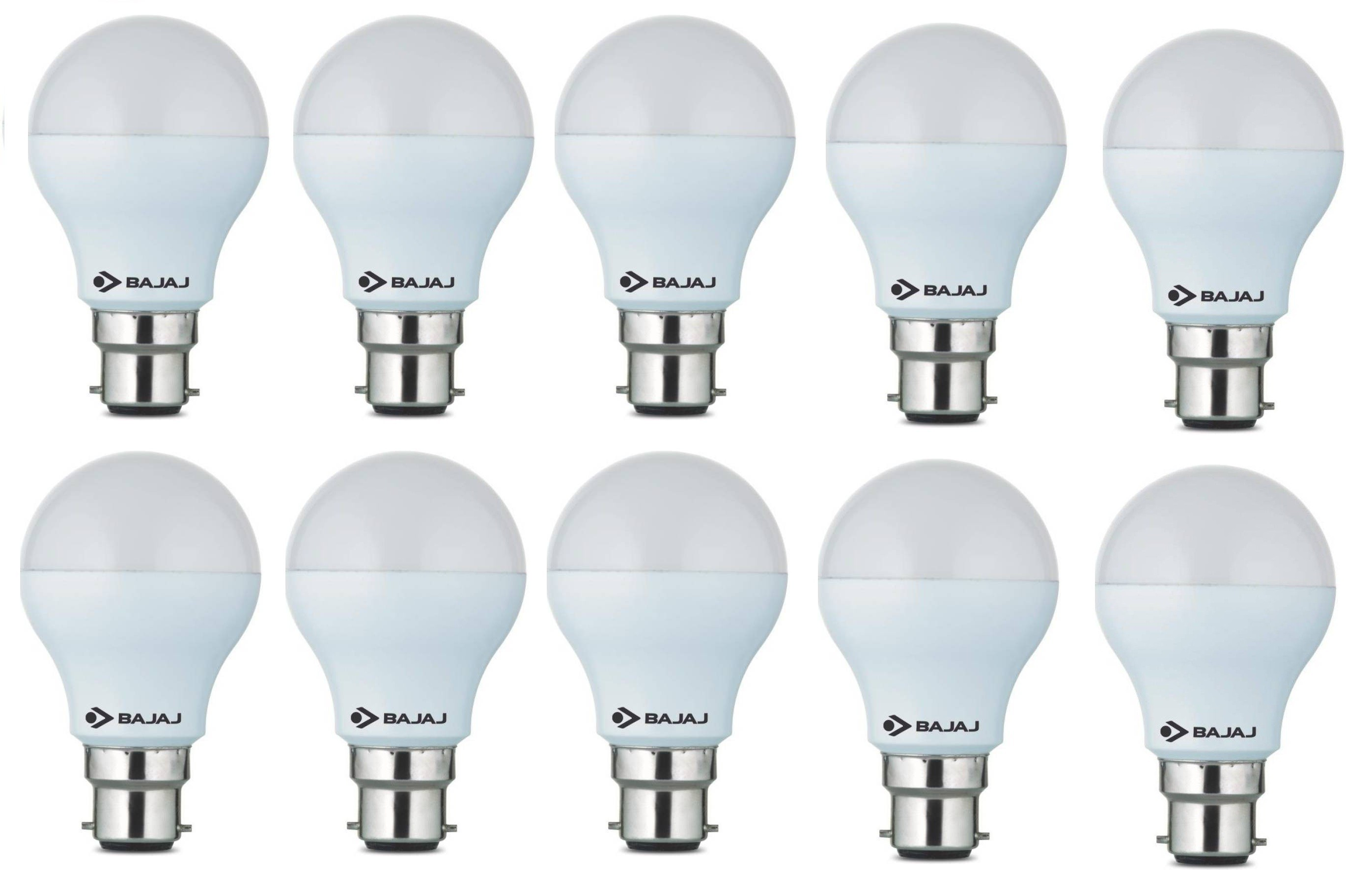 Bajaj 9 W Round B22 LED Bulb(White, Pack of 10) Image