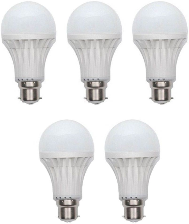 Durable 9 W Standard B22 LED Bulb(White, Pack of 5) Image