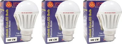 Infiniti 9W B22 LED Bulb (Cool White, Pack of 3)