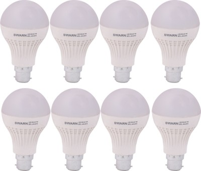 Swarn 7W B22 600L LED Bulb (White, Pack Of 8)