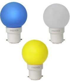 Pyrotech 0.5W LED Bulb (Pack of 3) (Multicolour: Blue, Yellow, White)