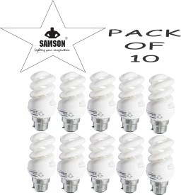 Samson 12W Spiral Clear B22 CFL Bulb (Yellow, Pack of 10)