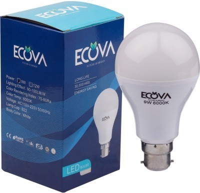 Ecova 9W B22 LED Bulb (White, Pack of 2)