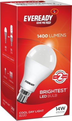 Eveready 14W LED Bulb Pack of 1 with Free 2 Batteries(White)