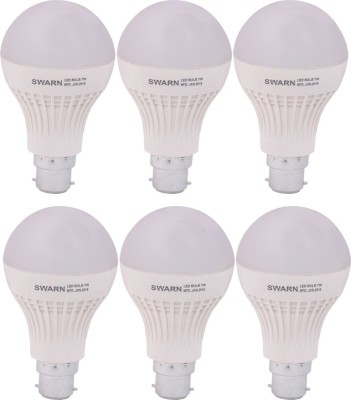 Swarn 7W B22 600L LED Bulb (White, Pack Of 6)