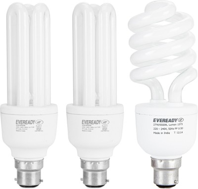 Eveready 15 W, 20 W, 27 W CFL Combo with Free 4 Batteries Bulb