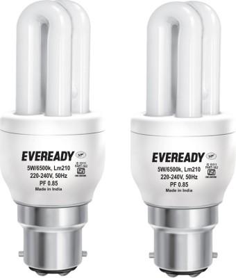 Eveready 5 W B22 CFL Bulb(White, Pack of 2)