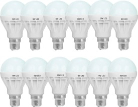SR Collection 9 W Standard B22 LED Bulb(White, Pack of 12)