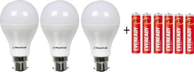 PowerCell 7 W LED Bulb Pack of 3 with Free 6 Batteries(White, Pack of 3)