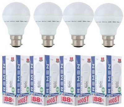 REMEN-7W-B22-Eco-Friendly-LED-Bulb-(White,-Pack-of-4)