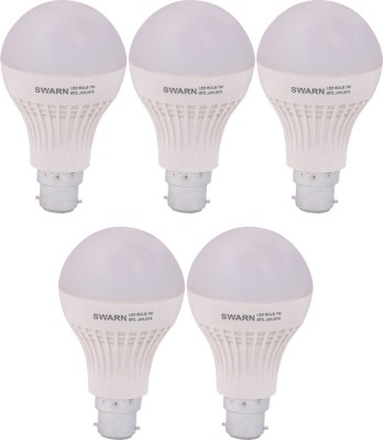 Swarn 7W B22 600L LED Bulb (White, Pack Of 5)