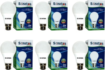 Sonetaas 9W B22 LED Bulb (Pack Of 6, White)
