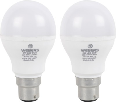 Webers 5W B22 LED Bulb (Cool Day Light, Pack Of 2)
