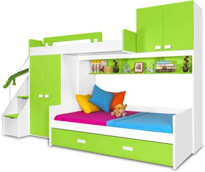 Alex Daisy Play Bunk Engineered Wood Bunk Bed(Finish Color - Green - White)