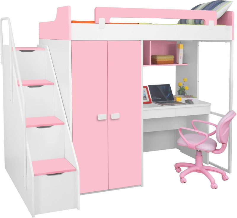 Alex Daisy Boston Engineered Wood Loft Bed(Finish Color - Pink & White)