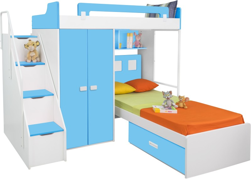 Alex Daisy Boston Engineered Wood Bunk Bed(Finish Color - Blue & White)