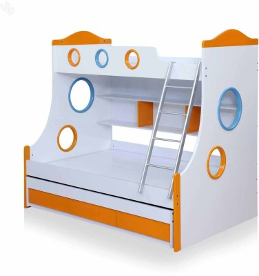 Royal Oak Remo Engineered Wood Bunk Bed(Finish Color - White & Orange)
