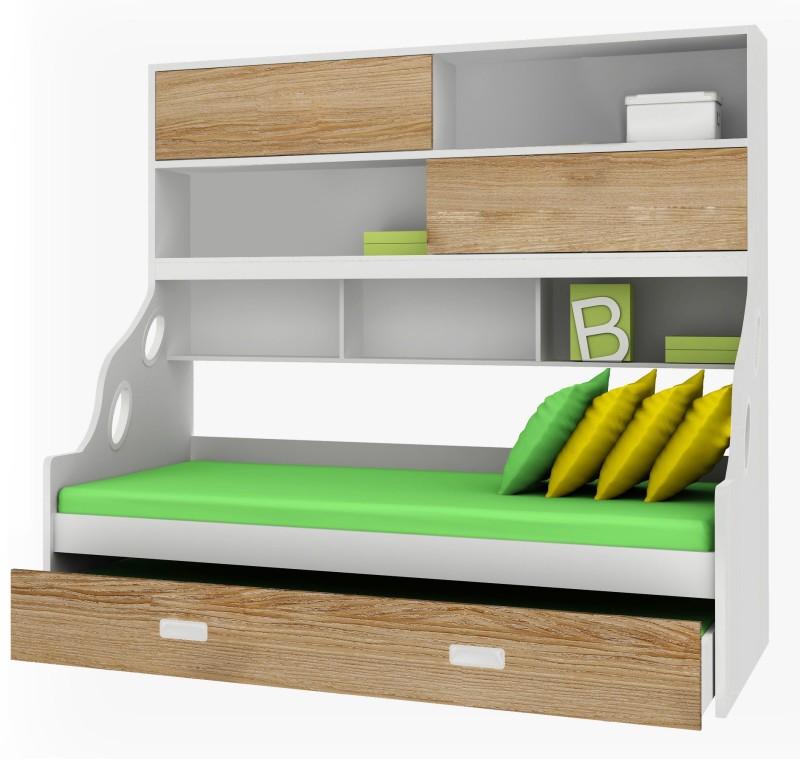 Alex Daisy Hybrid Engineered Wood Bunk Bed(Finish Color - Oak & White)