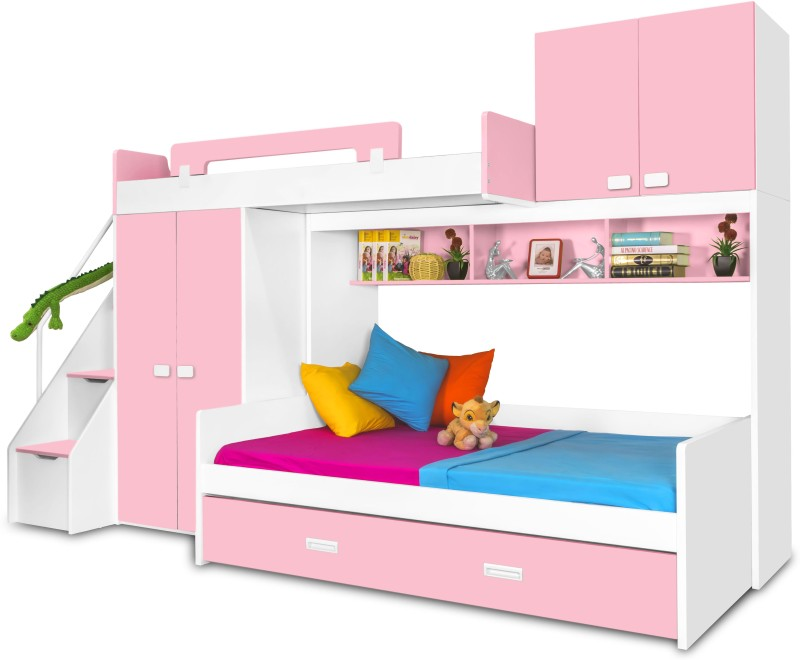 Alex Daisy Play Bunk Engineered Wood Bunk Bed(Finish Color - Pink - White)