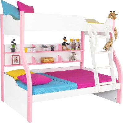Alex Daisy Cloumbia Engineered Wood Bunk Bed(Finish Color - Pink & White)
