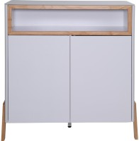 Evok Fressia Engineered Wood Free Standing Cabinet(Finish Color - White +Walnut, Door Type- Hinged)