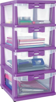Nilkamal Plastic Free Standing Chest of Drawers(Finish Color - Purple)