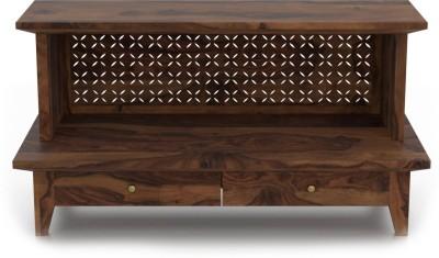 Urban Ladder Devoto Open Prayer Solid Wood Free Standing Cabinet(Finish Color - Teak)