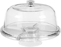 THW Multifunctional 3 in 1 Stand with Dome Polypropylene Cake Server(Clear, Pack of 1)
