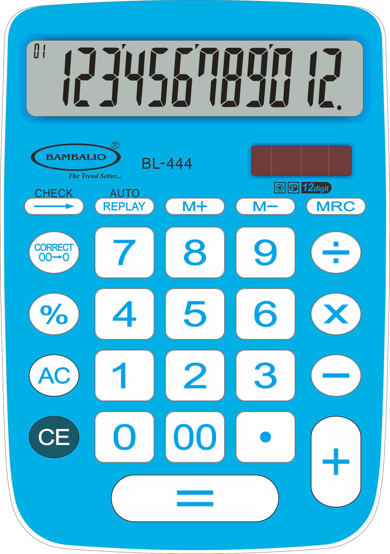 Bambalio 12 Digits Big Display Electronic Calculator (Blue) 2 Years Warranty BL-444 Basic  Calculator Flipkart