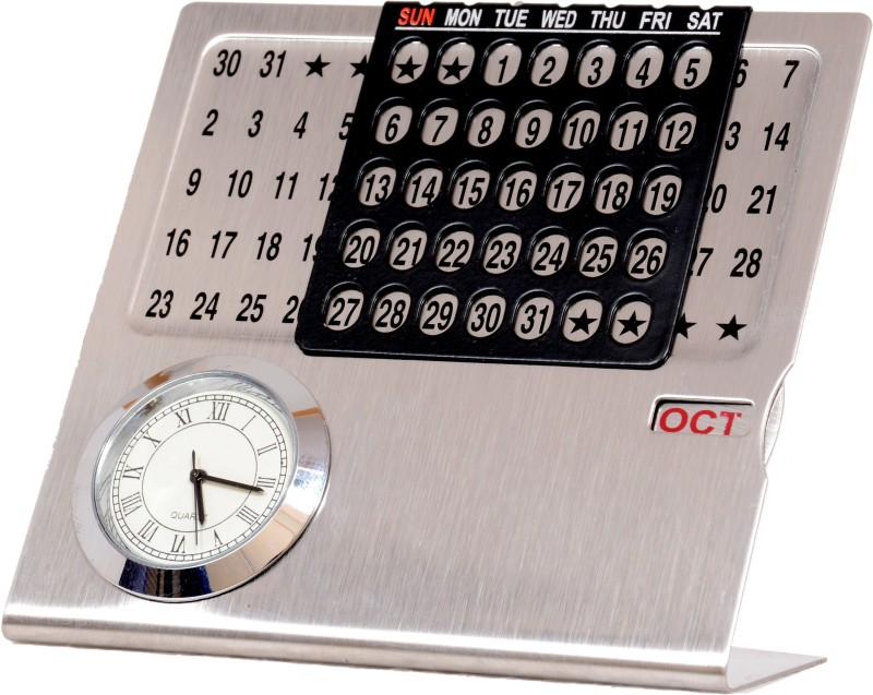 Doma Small Silver Calendar All Years Table Calendar(Silver, Colors of India)
