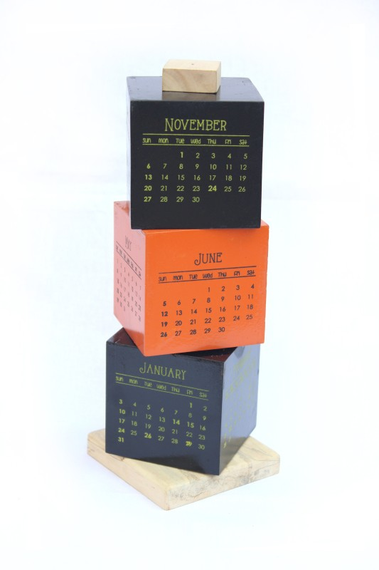 Ivei Wooden Cube 2016 Table Calendar(Orange, Black, Wooden Box)