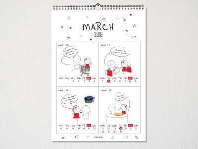 TwoGud Love Calendar 2016 2016 Wall Calendar