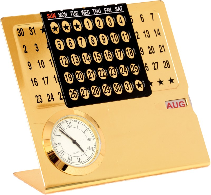 Doma Small Gold Calendar All Years Table Calendar(Gold, Colors of India)