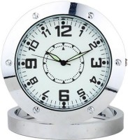 Autosity Secrete Detective Round-Steel-Table-Clock Clock Spy Product Camcorder(Silver)