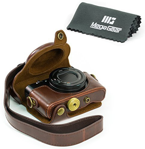 """MegaGear """"Ever Ready"""" Protective Dark Brown Leather Camera Case , Bag for Sony Cyber-shot DSC-RX100 V, DSC-RX100M II, DSC-RX100 III, DSC-RX100 IV Digital Camera Camera Bag(Brown) Image"""