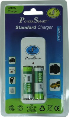 Power Smart Standard Charger with 2 AA Batteries of Capacity 1100mAh Camera Battery Charger