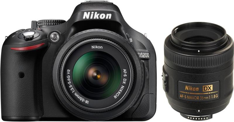 nikon d5200 dslr camera with af-s18-55vrii & 35mmf/1.8g lenses 8gb card carrybag