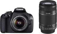 Canon EOS 1200D DSLR Camera (Body with 8 GB Card & Bag EF S18-55 IS II 55-250mm IS II)(Black)