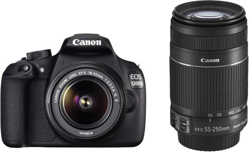 canon eos 1200d dslr camera black 18-55 & 55-250 isii lenses combo 8gb card kit