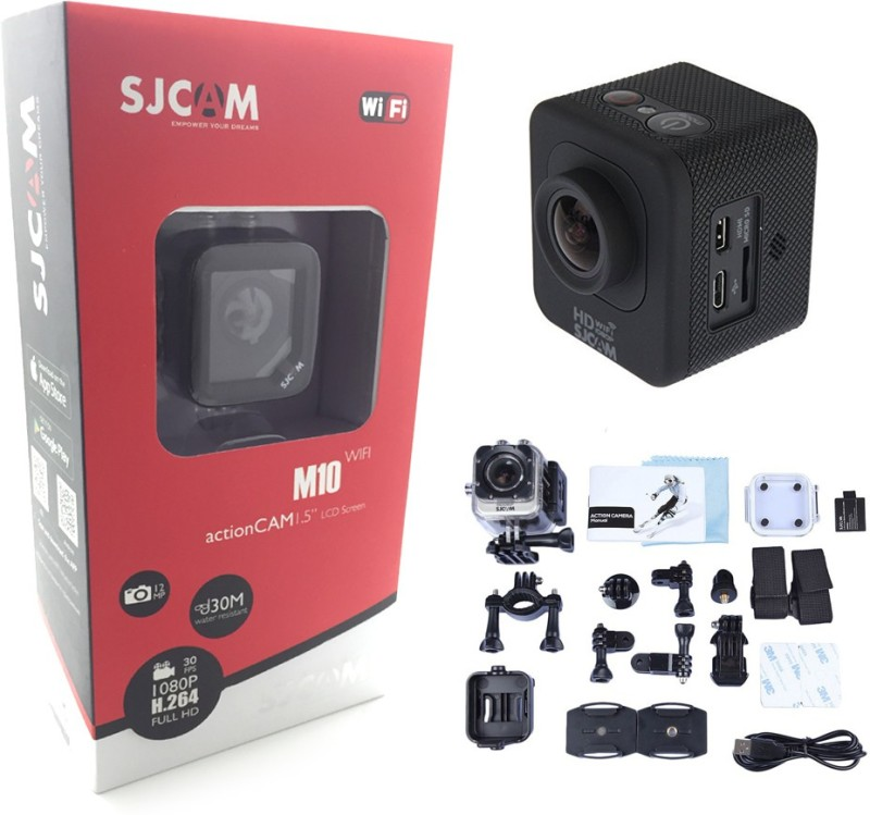 Sjcam M10 Wifi Mini Cube Wide-Angle 170 degree Cam-1.5 Inch Ultra HD Display Waterproof 12MP 1080p HD Camcorder-Car Dash 170 Degree HD wide-angle lens Sports & Action Camera(Black)