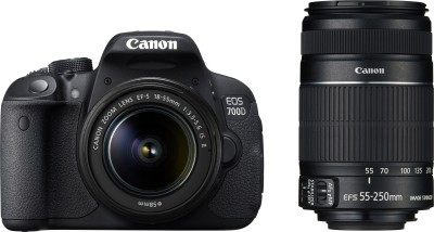Canon EOS 700D with (EF S18 - 55 mm IS II and EF S55 - 250 mm IS II) DSLR Camera(Black)