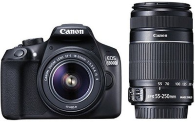 Canon EOS 1300D EF-S 18 - 55 mm IS II + EF-S 55 - 250 mm F4 5.6 IS II DSLR Camera(Black)