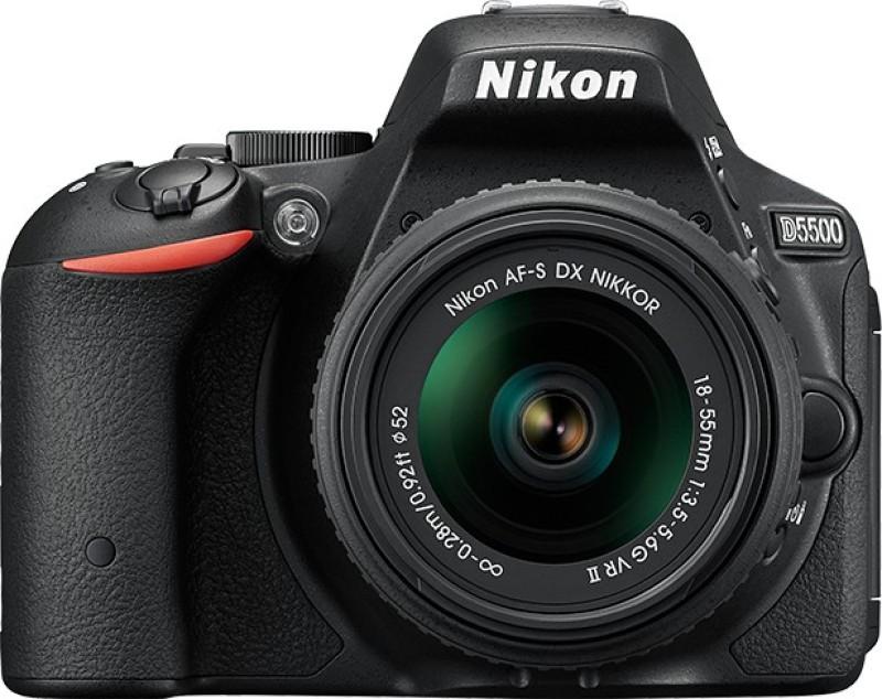 nikon d5500 dslr camera red af-s18-55 f/3.5-5.6 vrii lens 8gb card carrying case